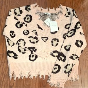 NWT Miracle Blush Pink Sweater Black Print M/L